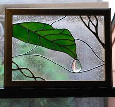 Raindrop - Delphi Stained Glass I'd always feel like wiping away that drip. Stained Glass Flowers, Stained Glass Designs, Stained Glass Panels, Stained Glass Projects, Stained Glass Patterns, Leaded Glass, Stained Glass Art, Mosaic Patterns, Broken Glass Art