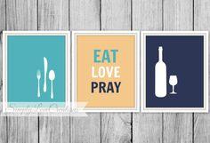 Modern Kitchen Wall Art Prints - Eat Love Pray Print - Wine Fork Knife Spoon - Set of 3 Modern Dining Room - Kitchen Art - Housewarming Gift on Etsy, $22.00