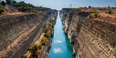 A waterway that crosses the narrow isthmus of Corinth to link the Gulf of Corinth to the Saronic Gulf. It separates the Greek mainland from the Peloponnese, turning it into an island. #Corinth #Canal #Peloponnese #Greece #Monterrasol #travel #privatetours #customizedtours #multidaytours #roadtrips #travelwithus #tour #landscape #nature #architecture #fun #summer #summertime #beauty #beautiful #tourism #thisisgreece #destination #blue #green #bungee #jump Corinth Greece, Corinth Canal, Ways Of Seeing, Greek Islands, Day Tours, Tourism, River, City, Outdoor
