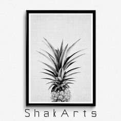 Pineapple Wall Black White Ananas Print Tropical Wall by ShakArts
