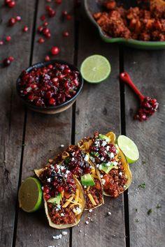 Chipotle Quinoa Sweet Potato Tacos with Roasted Cranberry Pomegranate Salsa | halfbakedharvest.com