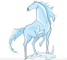 Nokk, Elsa's Water Spirit Horse from Frozen 2 Cool Girl Drawings, Horse Drawings, Elsa Drawing, Water Drawing, Cute Fantasy Creatures, Mythical Creatures Art, Frozen Art, Disney Frozen, Frozen Movie Party