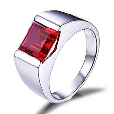 Jewelrypalace Men�s 3.4ct Square Created Red Ruby 925 Sterling Silver Ring Size 8 � Jewelry from Selena