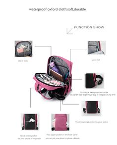 Anti Theft Fashion Multifunctional Women's Pink Backpack  Womens Ladies Girls Cute Business College Student Stylish l Gift ideas for her best Travel Accessories Cool Fashion  Notebooks Products for sale buy online websites shops shopping store shop link websites gift ideas for him USA Canada Australia France