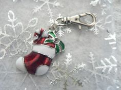 Add A Little Holiday Cheer To Your key Chain ~ Christmas Stocking CHARM Swivel Key Clip Zipper Pull or Purse Charm by Simply2Charming, $6.00