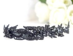 Black beaded lace headband