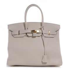 This is an authentic HERMES Swift Birkin 35 in Craie.   This highly coveted handbag is beautifully crafted of supple swift leather with a smooth finish in a dark chalk white.  See more on http://sacredorchid.com/