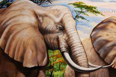 слоны африканской саванны в росписи стен детской комнаты http://decoration-of-space.ru/rospis-savanna.html