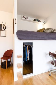 Low loft bed with closet underneath! Love this quirky design!