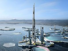 """This Is What Tokyo Will Look Like in Its Mile-High Skyscraper- The ambitious plan includes a tower, twice the size of the Burj Khalifa- A rendering shows the plan by Kohn Pedersen Fox Assoc. and Leslie E. for """"Next Tokyo. Dubai, Masterplan, New District, Eco City, New Architecture, Skyline, Climate Change Effects, Futuristic City, Future City"""