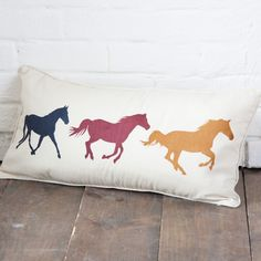 3 Running Horses Pillow...DIY with stencils