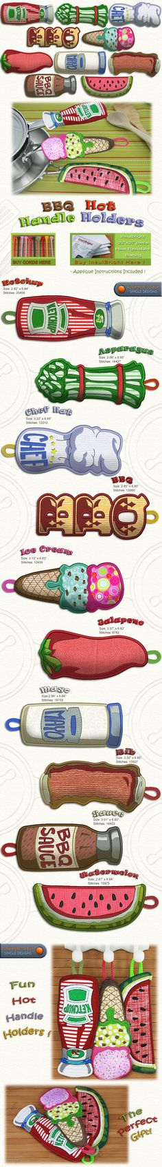 BBQ Hot Handle Holders Embroidery Designs Free Embroidery Design Patterns Applique