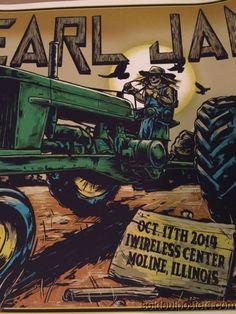 Pearl Jam - 2014 SIGNED #'d Ian Williams poster print Moline, IL I Wireless