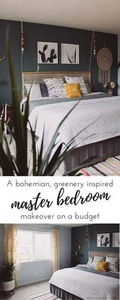 #Sponsored by @FebrezeONE: A bohemian inspired Fall master bedroom makeover, full of patterns, greenery and natural elements. All done on a budget! #bohemianstyle #masterbedroom#bohemian