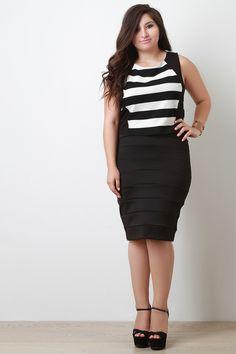 Plus Size Bandage Midi Skirt