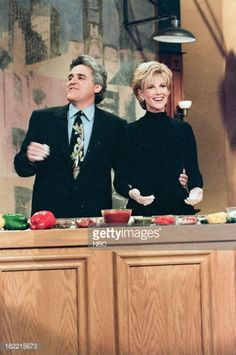 News Photo : Host Jay Leno with TV host Joan Lunden during a...