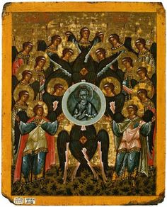 The Synaxis of the ArchangelsDouble-Faced Icon-Tablet  School or cultural centre:Novgorod  Late 15th—early 16th centuries