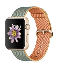 Apple Watch Sport - Gold Aluminum Case with Gold-Red Woven Band (38mm & 42mm) - $299/$349