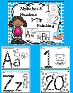 Alphabet and Number Q-Tip Painting, Fun for Pre-K, Kinders and 1st Graders who need some review.  Q-Tip Painting is great for fine motor skills!