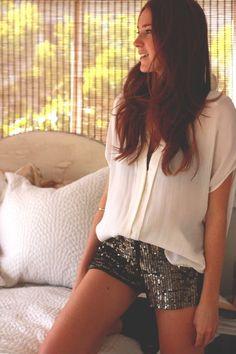 sequin shorts  blouse.