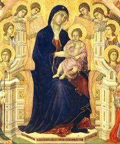 Duccio di Boninsegna - Maestà del Duomo di Siena (1308-1311): Tavola principale - particolare della Vergine con il Bambino - Siena, Museo dell'Opera del Duomo - #Siena #DuccioDiBoninsegna #MaestaDelDuomoDiSiena