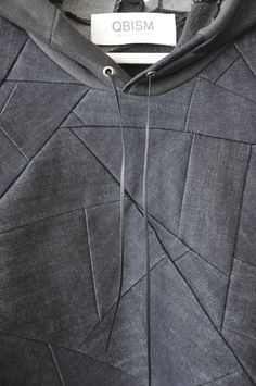 style 2:detail denim patchwork hooded sweat