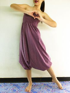 Thai Women Cotton Clothing Harem Pants Drop Crotch Comfy Baggy Genie Boho Pants Pink Purple (HC23)