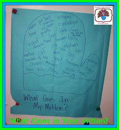 What goes in my mitten? A great writing activity after reading Jan Brett's The Mitten!