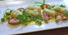 Gnocchi mit Safransauce, Erbsen und Shiitake