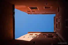 Looking up in a courtyard of kasbahTaourirt in Ouarzazate, Morocco.