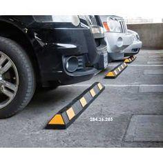 Striped Parking Wheel Stops Park-It Booth Design, Parking, Monster Trucks, Survival, Stripes, Black And White, Safety, Garage, Urban Design
