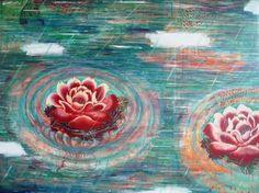 Sachi Yamabe: kimono roses and fish x acylic on canvas Kimono, Roses, Artists, Fish, Canvas, Painting, Tela, Pink, Rose