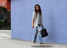 Blown out boot cuts still look stylish! Spring Fashion, Winter Fashion, Ripped Knee Jeans, Sincerely Jules, Stylish Jackets, Complete Outfits, Boyfriend Jeans, Personal Style, Street Style