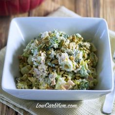 Low carb broccoli bacon cheese salad featured
