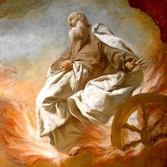 Elijah taken up to heaven in a chariot of fire