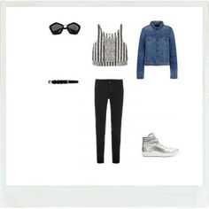 Look's idea with a Denim Jacket and an easy chic Black Denim Jeans. Pierre Hardy metallic leather sneakers, Suno cropped top, Iro black leather belt, Miu Miu sunglasses...