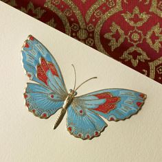 Hand Engraved Butterfly correspondence card by Crane & Co.