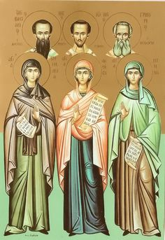 The Three Holy Mothers of the Three Hierarchs: Sts. Nonna, Emmelia and Anthousa - Commemorated the Sunday after the Feast of the Presenta. Byzantine Icons, Byzantine Art, Religious Images, Religious Art, Lives Of The Saints, Orthodox Icons, Holi, Christianity, Princess Zelda