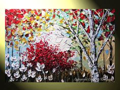 abstract painting birch trees | Request a custom order and have something made just for you.
