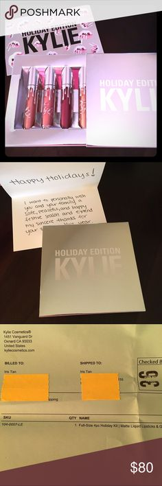 Kylie 4-pc Holiday Kit (full sizes) Brand new and 100% authentic! Will come with the card and black box. Never opened nor swatched. Kylie Cosmetics Makeup Lipstick