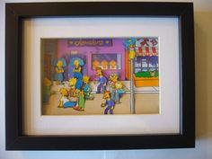 The Simpsons Arcade Shadow Box Diorama Art by Cuadros Diy, 3d Paper Art, 8bit Art, Simpsons Art, Shadow Box Art, Paper Games, Retro Videos, Image Fun, Arts And Crafts