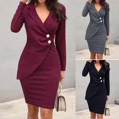 Autumn Dress Women Office Lady Sexy Solid Turn Down Neck Long Sleeve Buttons Bodycon Work Formal Dress Freeship Wholesale платье lady dresses Mini Dress Formal, Formal Dresses With Sleeves, Formal Skirt, Office Dresses For Women, Dresses For Work, Clothes For Women, Office Dresses For Ladies, Dress Work, Cheap Dresses