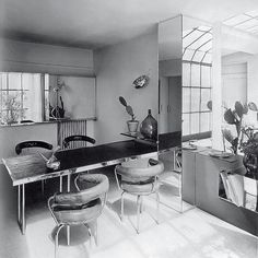 scandinaviancollectors: The dining room of the aperment-ateljée on Place St Sulpice, by Charlotte Perriand, / The Charnel House Bauhaus Interior, Interior Architecture, Interior And Exterior, Bauhaus Furniture, Charlotte Perriand, Home Living, Living Room Decor, Living Spaces, Dining Room