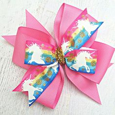 Unicorn Hair Bow, Pink Unicorn Hair Clip, Rainbow Unicorn Bow, Unicorn Birthday Party Bow, Rainbow U Big Hair Bows, Ribbon Hair Bows, Making Hair Bows, Homemade Hair Accessories, Bow Accessories, Unicorn Headband, Unicorn Hair, Unicorn Themed Birthday Party, Jojo Bows