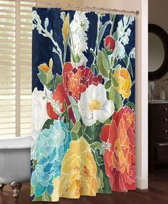 Artist Megan Meagher painted a bouquet of colorful flowers set against a navy background to create a beautiful contrast of day and night that will transform any bathroom! All of our products are digit Colorful Shower Curtain, Cool Shower Curtains, Floral Shower Curtains, Diy Curtains, Bathroom Crafts, Boho Bathroom, Bathroom Ideas, Master Bath Shower, Guest Bath