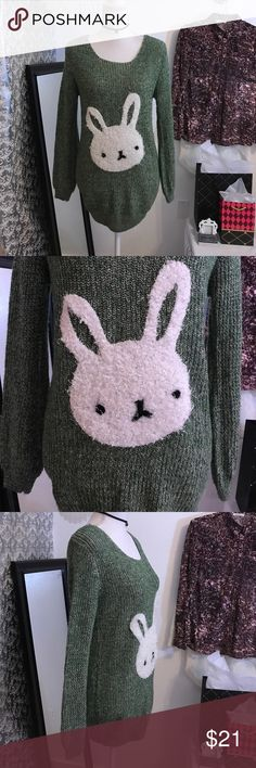Bunny decor long sleeve sweater L Sweaters