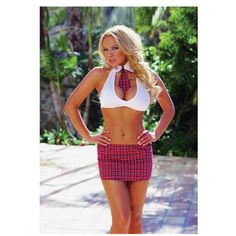 3 pc Extra Credit School Girl Halter Top w/Attached Tie, Skirt & Ruffled  Panty O/S - Earning extra credit is always fun! This School Girl costume  includes a ...