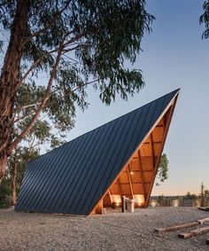 plano humano arquitectos sites discreet, tent-shaped chapel in portugal A Frame Cabin, A Frame House, Architecture Design, Arched Cabin, Gazebos, Casa Patio, Roof Design, Cabin Homes, Cabins In The Woods