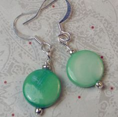 Medium Green small shells of Mother of Pearl shell by beadwizzard