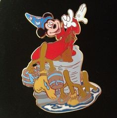Fantasia Sorcerer Mickey Mouse with Enchanted Brooms and Buckets Disney Pin Le | eBay